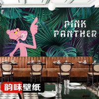 粉红顽皮豹热带雨林深绿色植物树叶客厅卧室少女心儿童房墙纸