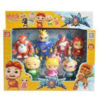 正版猪猪侠菲菲波比动漫公仔变身战队套装儿童卡通玩具7个装批发