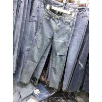 外贸原单高腰韩版黑色蓝色牛仔裤弹性弹力铅笔小脚裤紧身长裤女裤