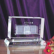 楼房立体三维图像摆件,贵航集团建筑模型纪念品,医院周年水晶礼品定制
