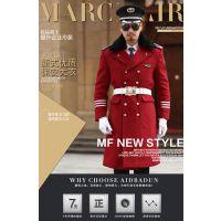 定做新款男保安大衣酒红色物业房产售楼部形象岗礼宾服