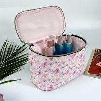 供应PU材质满版印花化妆箱 防水大容量化妆品收纳箱方形