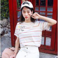 杭州2元T恤哪里进货的纯棉短袖T恤大量新款厂家直销的库存尾货套头服装女装日系