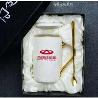 广告礼品印logo带盖陶瓷马克杯 骨瓷纯白美式马克杯