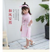 新款网店代理夏季花朵女童中国风童装 旗袍夏季儿童唐装女童汉服