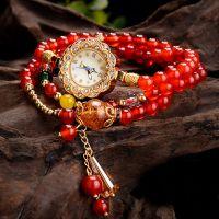 红玛瑙宝石串珠手链表 时尚潮人创意学生水晶石榴石手表手链批发