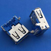 usb 3.0 5P焊线式母座 直边蓝色胶芯插板 沉板 -创粤