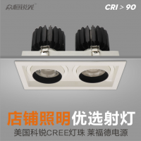 锐芒照明LED斗胆灯2030W方形单头双头三头嵌入式LED豆胆灯店铺COB格栅射灯