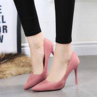 女鞋高跟新款韩版尖头鞋浅口气质显瘦春秋细跟韩版单鞋百搭潮