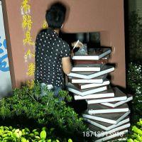 玻璃钢雕塑书籍校园景观雕塑书山造型图书馆户外仿真书本道具艺宇厂家供应