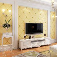 家装欧式无纺布墙纸立体菱格软包鹿皮绒卧室客厅3d电视背景墙壁纸