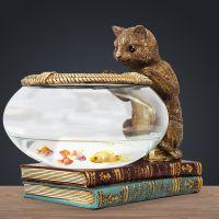 鱼缸猫咪金欧式摆件玻璃客厅玄关家居装饰品小型办公室桌面小欧式