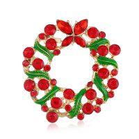 欧美圣诞饰品 卡通圣诞花环镶钻胸针胸 速卖通圣诞节典恰热销批发
