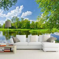 蓝天白云草地风景大型壁画壁纸墙纸3d电视客厅沙发背景墙壁纸简约