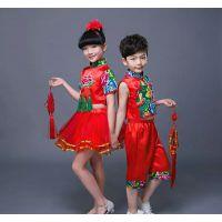新款六一儿童喜庆秧歌服民族风表演出服幼儿园合唱舞蹈裙灯笼裤