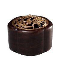 那时明月线香盘香纯铜雕刻镂空香炉檀香炉黄铜宝石镶嵌