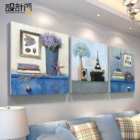 地中海沙发客厅风格背景墙装饰画壁画简欧餐厅卧室墙画三联画挂画
