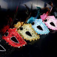 万圣节公主半脸面罩化妆舞会性感女童眼罩面具表演派对手持