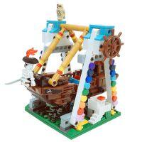 游乐园系列海盗船积木 儿童益智迷你街景小颗粒拼插塑料积木玩具