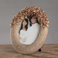 欧式复古时尚树脂雕花照片框创意摆台7寸相框卧室婚房家居装饰品