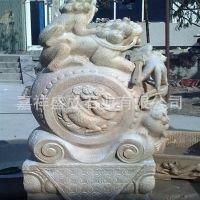 厂家直销花岗岩大理石雕刻门墩抱鼓石 仿古做旧古建石鼓