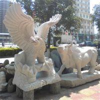 厂家定制花岗岩青石老鹰晚霞红石雕鹰动物雕塑摆件