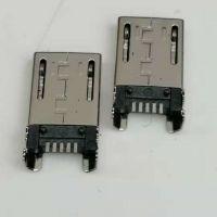 MICRO USB 5P公头 四脚插板 端子贴片 DIP+SMT 反向 无凸点 有柱 带卡勾 黑胶