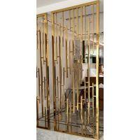 中国酒店拉丝钛金不锈钢焊接屏风隔断