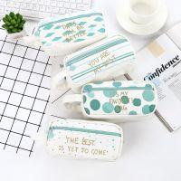 韩版绿色大容量学生笔袋 可爱拉链文具盒 帆布铅笔盒学生礼品