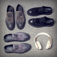 秋季新款英伦布洛克男鞋休闲鞋韩版潮鞋百搭真皮男士皮鞋一件代发