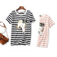18夏季新品 谁穿谁好看 可爱猫咪印花 舒适纯棉条纹圆领短袖T恤女