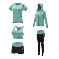 厂家批发春夏运动健身瑜伽服 新款速干衣显瘦五件套瑜伽服套装女
