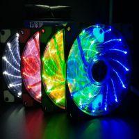 跨境专供防震发光电脑机箱散热风扇 15颗LED灯静音EBAY速卖通wish