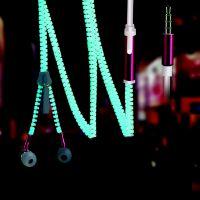 雷思尼L2 拉链夜光耳机手机MP3入耳式发光耳机线控重低音耳机带麦