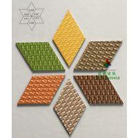 菱形PVC塑胶地板编织纹立体创意设计酒吧餐厅防水地胶上海批发
