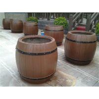 廊坊市中达景观建材厂家直销预制混凝土仿木花箱花桶