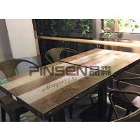 老榆木原木烧烤火锅一体方桌椅组合定制批发 全实木无烟电磁炉桌 美式乡村
