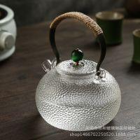 纯手工茶壶耐高温玻璃茶具功夫煮茶壶烧水壶铜把提梁煮水壶锤纹壶