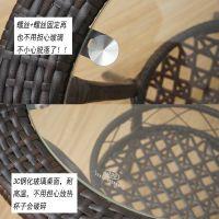 藤椅三件套阳台玻璃桌子圆形迷你双层小茶几户外简约休闲桌椅组合