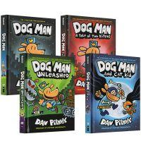 英文儿童文学绘本DOG MAN全套4册精装硬皮神探狗狗的冒险图漫画书