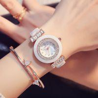 韩国时尚潮流玫瑰金女表 白色陶瓷手表批发 女士石英表水钻时装表