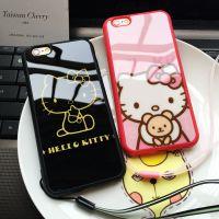 HelloKitty玫红黑镜面手机壳 卡通硅胶套5s软挂绳 后盖式手机配件