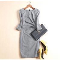 拉芙欧美新品 优雅通勤时尚 气质千鸟格立体剪裁修身显瘦连衣裙