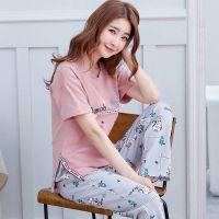 韩版睡衣女夏季短袖长裤薄款少女士可外穿运动休闲家居服套装