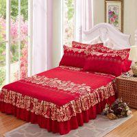 单件耐脏床单床罩床笠欧式喜庆加厚床裙床套花边1.5米浪漫特价秋