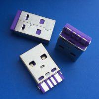 A公 usb2.0 4P 焊线式 公头 大电流 焊点麻点 紫色胶芯无后盖 防开口
