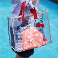 可视PVC手拎游泳包时尚旅行沙滩包干湿分离包手提泳池衣物收纳袋