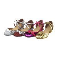少儿拉丁鞋国标舞鞋成人教师舞蹈鞋女式中跟交谊舞鞋广场舞女童鞋