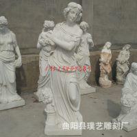 石雕四季神天使 汉白玉大理石西方人物欧式雕塑 室外装饰肖像摆件