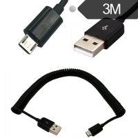 Micro USB可伸缩弹簧安卓手机数据线华为小米车充车载充电线3米